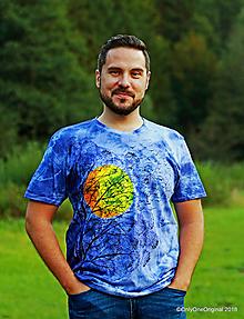Tričká - Pánske tričko batikované, maľované VTÁCI - 9959611_