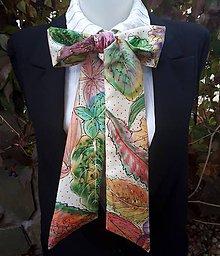 Šatky - Krúžim v jesennom víre- hodvábna maľovaná mašľa - 9960062_