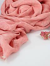 Šály - Ľanová elegantná šatka koralovej farby - 9960494_