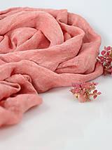 Šály - Ľanová elegantná šatka koralovej farby - 9960496_