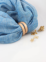 Šály - Elegantný tyrkysovošedý ľanový nákrčník - 9962300_