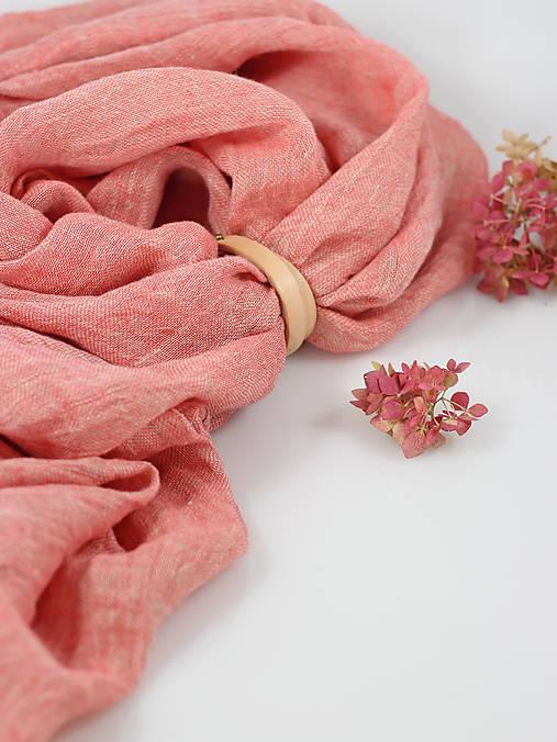 Ľanová elegantná šatka koralovej farby