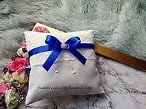 Prstene - Vankúšik na obrúčky - kráľovská modrá - 9961841_