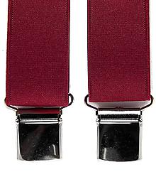 Doplnky - Pánske traky na klip jednofarebné (bordové) - 9960508_