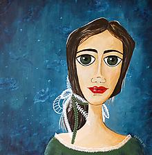 Obrazy - Ona - originálny obraz - akryl 50 x 50 cm - 9961291_
