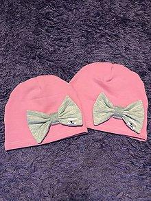 Detské čiapky - Čiapka s mašľou (S - Ružová) - 9958943_