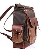 Batohy - Mestský batoh z kože a voskovaného plátna. Ruksak s objemnými vreckami. - 9960713_