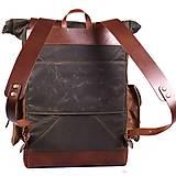 Batohy - Mestský batoh z kože a voskovaného plátna. Ruksak s objemnými vreckami. - 9960714_