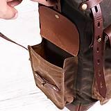 Batohy - Mestský batoh z kože a voskovaného plátna. Ruksak s objemnými vreckami. - 9960715_