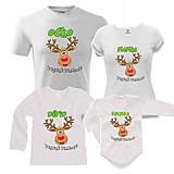 Tričká - Vianočná sobíková rodinka - rodinný set tričiek - 9962246_