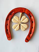 Dekorácie - Drevená dekorácia - Podkova pre šťastie - 9961534_