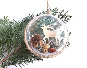 Dekorácie - Vianočné gule 4 ks sada lesné kráľovstvo - 9961240_