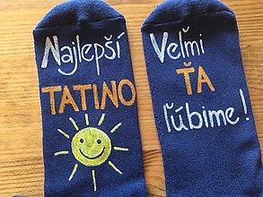 Obuv - Maľované ponožky pre najlepšieho ocka/mamku (na tmavomodrych ponožkách) - 9962576_