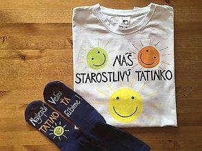 Oblečenie - Maľované pánske tričko pre starostlivého ocka - 9962596_