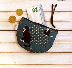 Peňaženky - Peňaženka Vážna mačka (s koženkou) - 9961279_