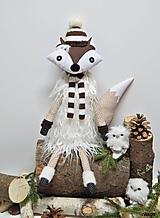 Dekorácie - Líštička kmotrička - v zimnom šate hnedá - 9961992_