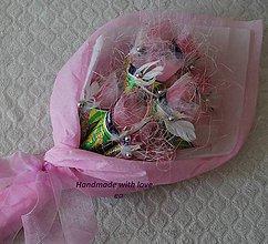 Darčeky pre svadobčanov - Kytica zo žrebov III - podlhovastá (Ružovo-biela) - 9960989_
