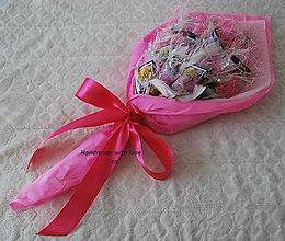 Darčeky pre svadobčanov - Kytica zo žrebov III - podlhovastá (Cyklámenovo-biela) - 9961042_