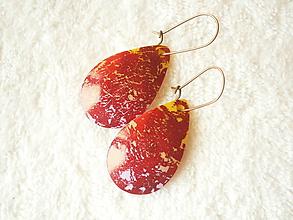 Náušnice - Náušnice z polyméru, červená žiara - 9960056_