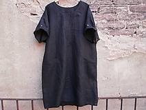 Šaty - Lněné šaty - černé - 9965045_