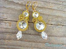 Náušnice - Crystal/Gold...soutache - 9964634_