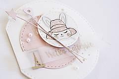 Papiernictvo - Pozdrav pre dievčatko - zajačik v klobúku - 9965970_