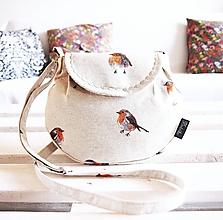 Kabelky - Malá režná kabelka - vtáčiky   - 9964342_
