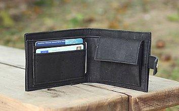 Peňaženky - Pánska čierna korková peňaženka - 9963408_