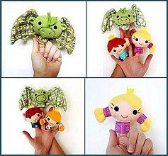 Hračky - Sada maňušiek na prst - Drak, princezná, princ - na objednávku - 9963273_