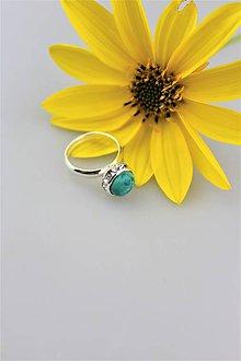 Prstene - tyrkys prsteň striebro - nastaviteľný - 9963784_