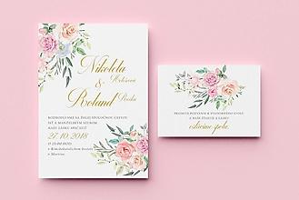 Papiernictvo - Svadobné oznámenie / Kytica ruží - 9964993_