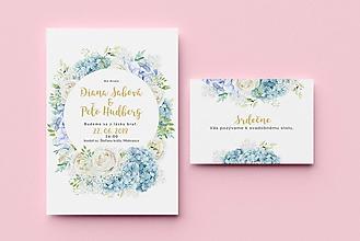 Papiernictvo - Svadobné oznámenie / hortenzie a biele ruže - 9965284_