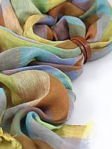 Šály - Štýlový pestrofarebný veľký ľanový šál/šatka