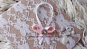 Darčeky pre svadobčanov - Stužky na fľaše / víno  - ružová - 9964092_