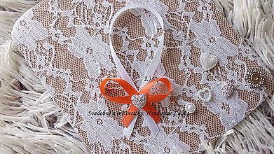 Darčeky pre svadobčanov - Stužky na fľaše / víno  - oranžová - 9964291_