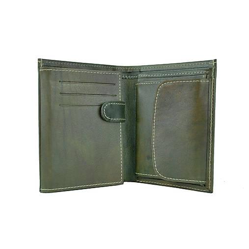 Kožená pánska peňaženka v tmavo zelenej farbe, ručne tieňovaná