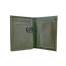 Tašky - Kožená pánska peňaženka v tmavo zelenej farbe, ručne tieňovaná - 9965496_