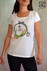 Tričká - Retro bike - maľované dámske tričko ( skladom L/XL) - 9965032_