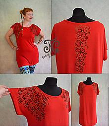 Šaty - ručne maľované Kvetinkové tričko - šaty - 9966501_