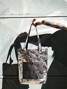 Veľké tašky - Papierová kabelka // silver black + - 9965418_