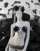 Ozdoby do vlasov - Kvetinová čelenka Back in black - 9962982_