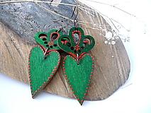 Náušnice - zeleno-červené folk náušnice - 9965286_