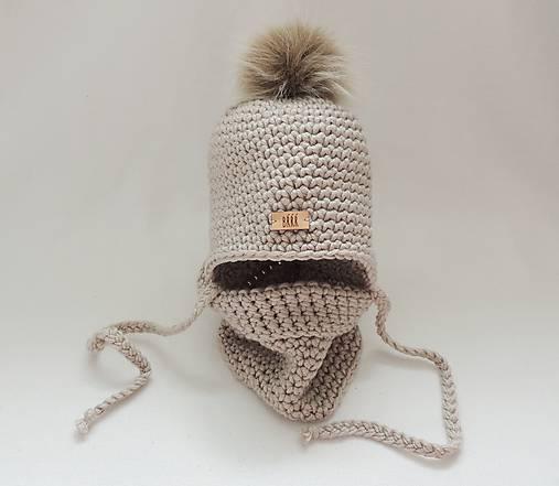 Béžový zimný detský set čiapka a nákrčník   terilh - SAShE.sk ... 55be9002a3