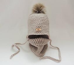 Detské čiapky - Béžový zimný detský set čiapka a nákrčník - 9963708_