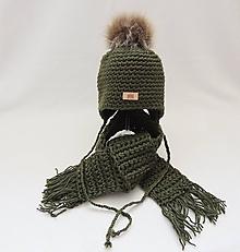 Detské čiapky - Olivovo zelený set čiapka a šál detský - 9964115_
