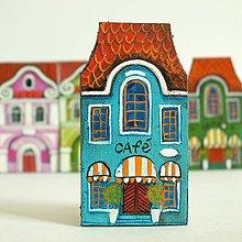 Odznaky/Brošne - Cáfe U modré kavky - kožená brož - 9963643_