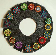 Odznaky/Brošne - Mandalka - kožená různobarevná brož - 9964006_