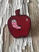 Odznaky/Brošne - AKCIA! jabĺčko s červíčkom - 9963953_