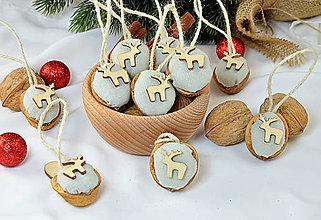 Dekorácie - Vianočné orechy ľanové s jelenčekom - 9964670_
