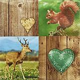 - S1294 - Servítky - drevo, veverička, srnec, srdiečko - 9968981_